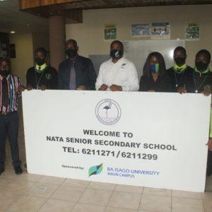BA ISAGO University MAUN Campus Donates a signage board to Nata Senior